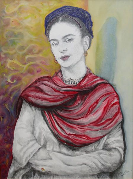 frida con rebozo rojo by Julian Orosco | ArtworkNetwork.com