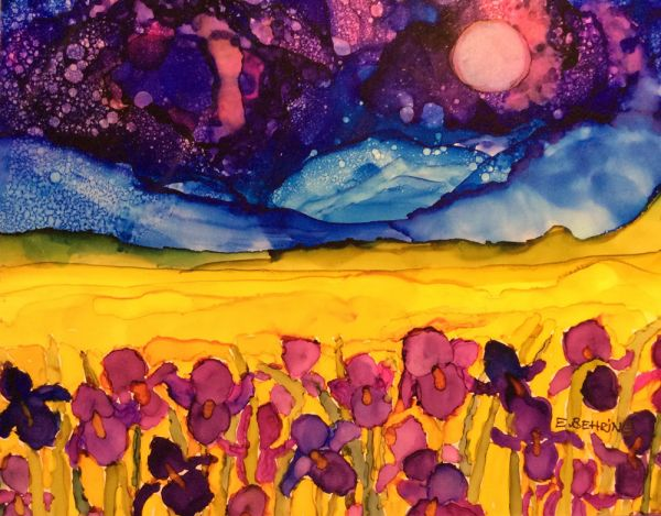 iris with purple sky by Eva Behring | ArtworkNetwork.com