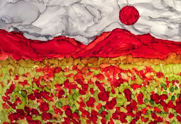 poppies and red sun by Eva Behring | ArtworkNetwork.com