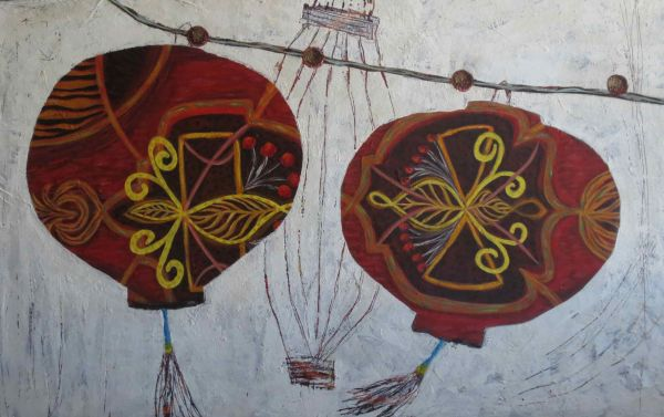 red chinese lanterns by Sarah Van Beckum | ArtworkNetwork.com