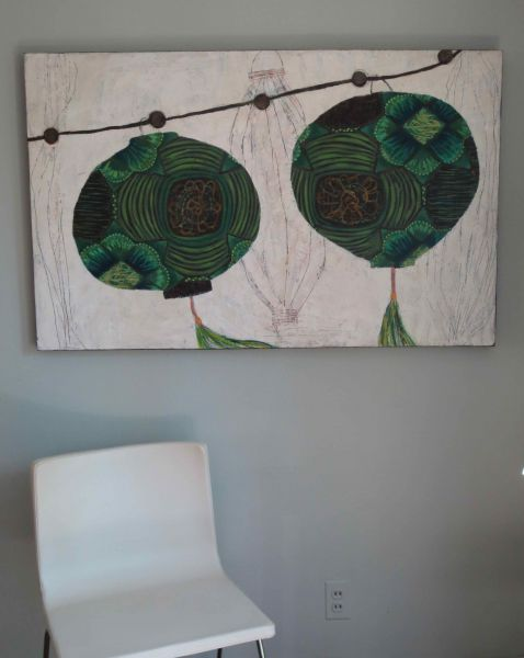 green chinese lanterns by Sarah Van Beckum | ArtworkNetwork.com