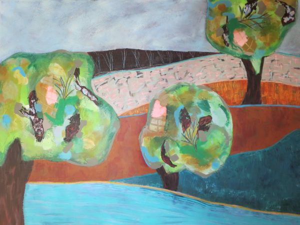 Three Trees by the River by Sarah Van Beckum | ArtworkNetwork.com