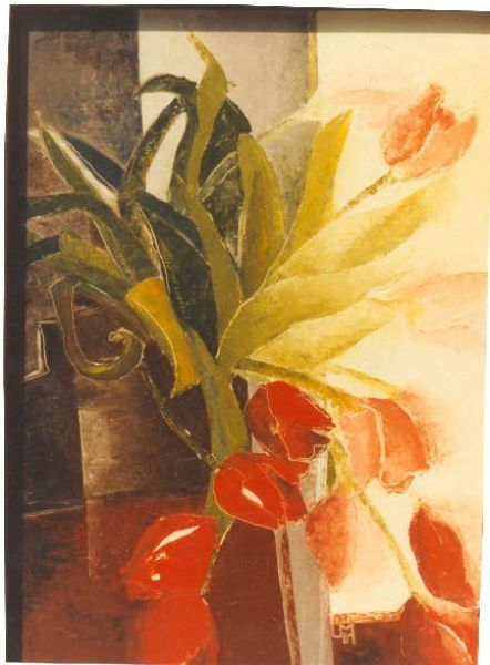 red tulips and window by Ulla Meyer | ArtworkNetwork.com