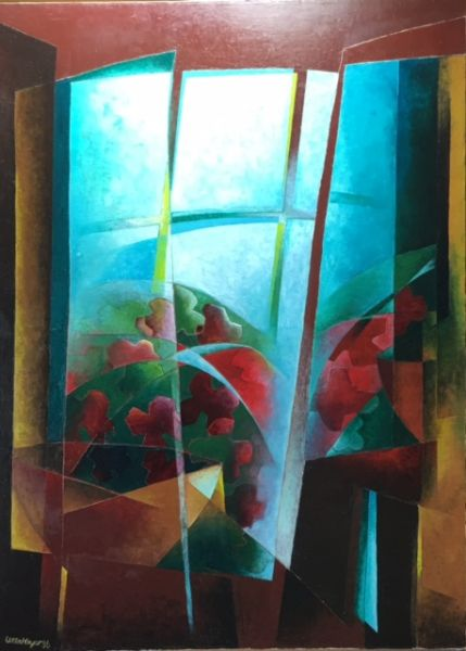 flowers at window by Ulla Meyer | ArtworkNetwork.com